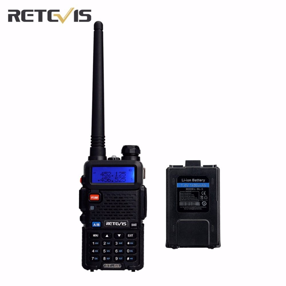 5W Walkie-Talkie Retevis RT-5R Dual Band VHF/UHF Radio Portable Radio Set Amateur Two Way Radio Transceiver +A Original Battery