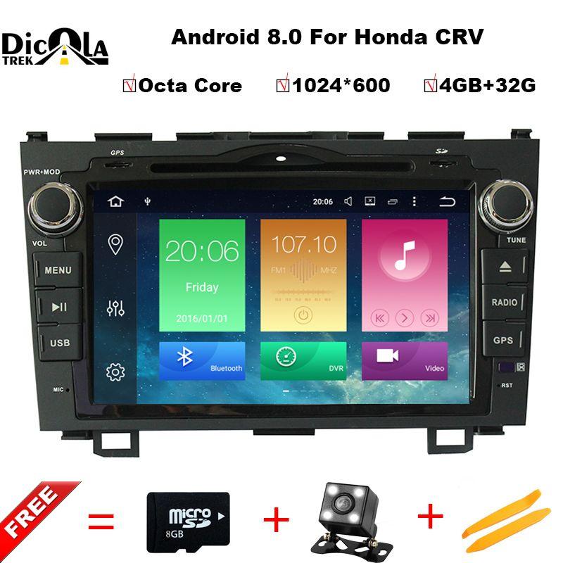 HD 8 inch Octa Core 1024X600 Android 8.0 Car DVD Player For Honda CRV CR-V 2006-2011 4G WiFi GPS Navigation Stereo Video SD USB