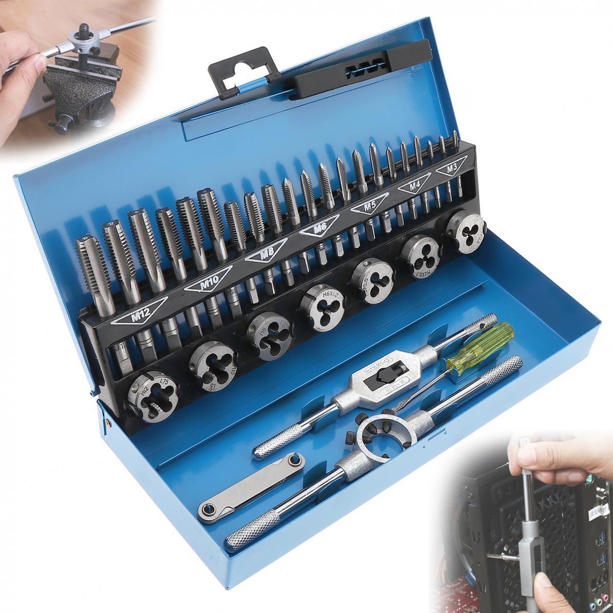 32pcs/Set HSS Metric Tap & Die Set M3-M12 1st 2nd & Plug Finishing for Metalworking