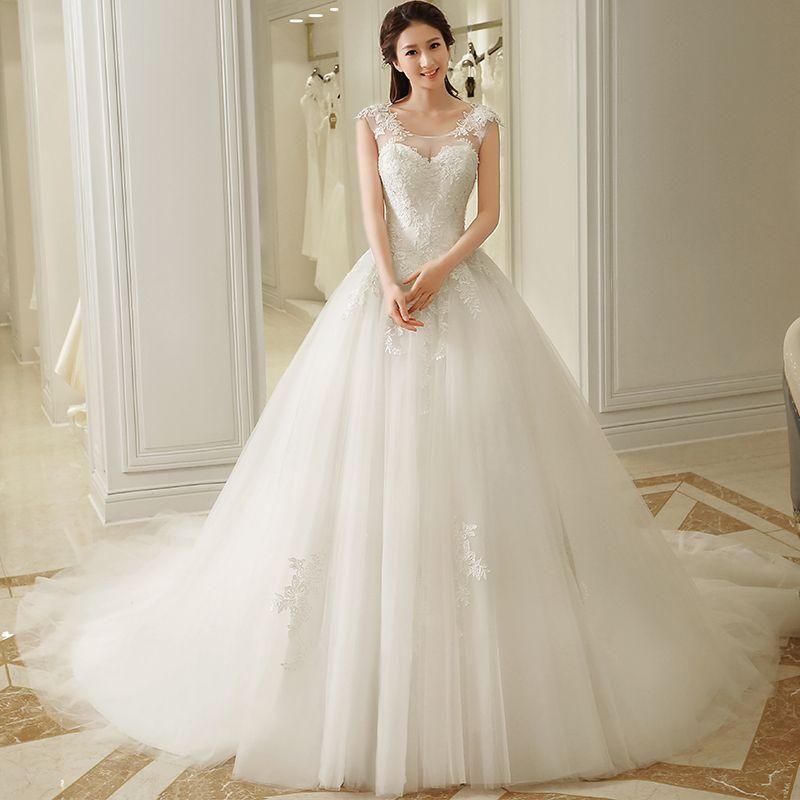 2017 new word shoulder wedding elegant sundai bride pregnant woman trailing wedding princess dream big swing