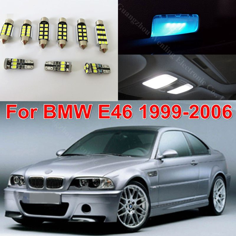 WLJH 17x  White Error Free Car Map Mirror Bulb Lighting Package Interior Led Kits for BMW E46 1999-2006 Sedan Wagon Coupe Canbus