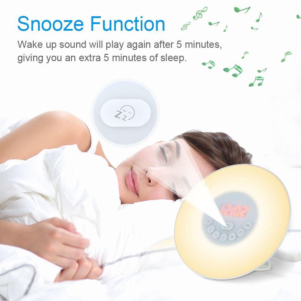 Sunrise Alarm Clock Wake Up Colorful Light Simulation Digital Alarm Clock Nature Sounds FM Radio Snooze Function Touch Control