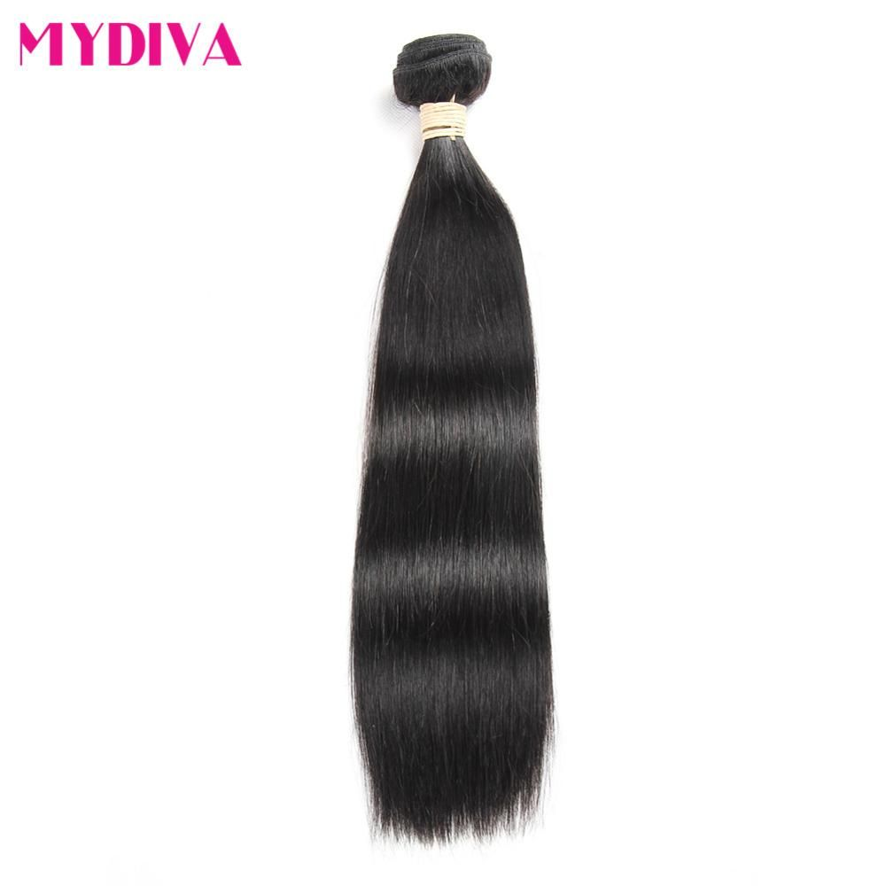 Mydiva Brazilian Straight Hair Weave 100% Human Hair Bundles 8-28 Inch Natural Color No shed Tangle Non Remy Can Buy 3 or 4 Pcs