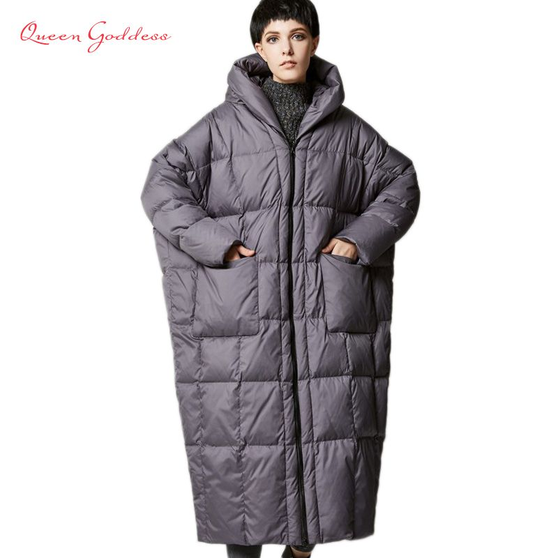 2017 version of the type of casual loose cocoon jacket thick long sleeve hooded winter women down jacket XS-7XL big pocket