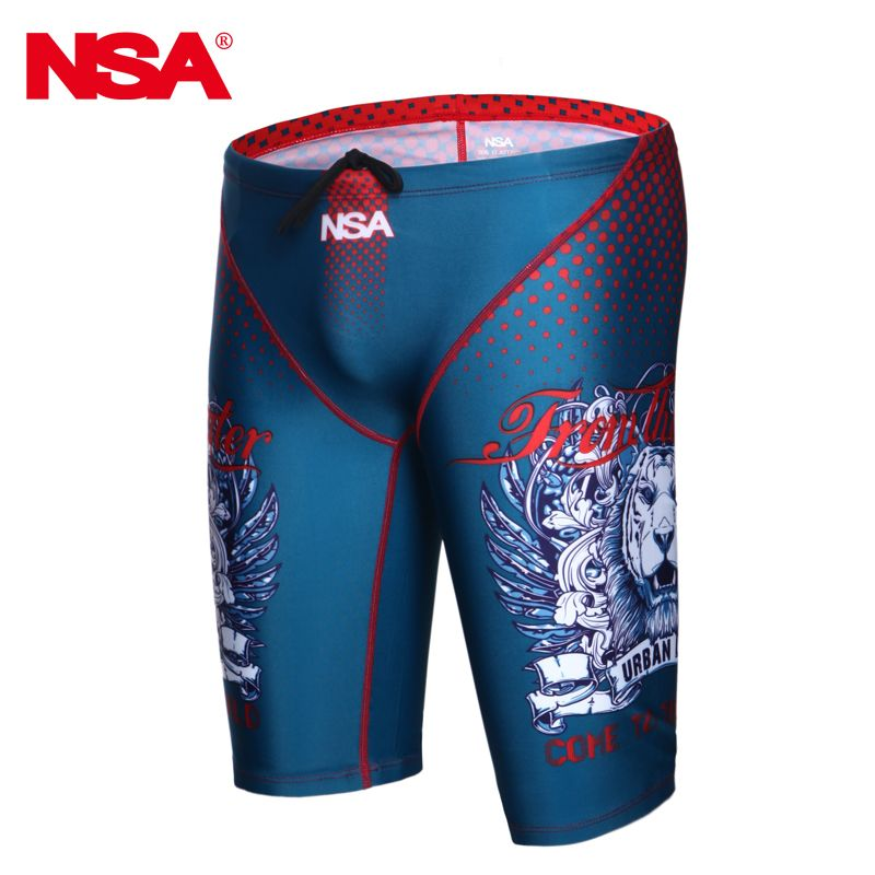 NSA  Professional Men Competitive Swim Trunks Swimwear Brand Jammer Quick-dry Beach Shorts Swimsuit Fifth Pant Plus Size