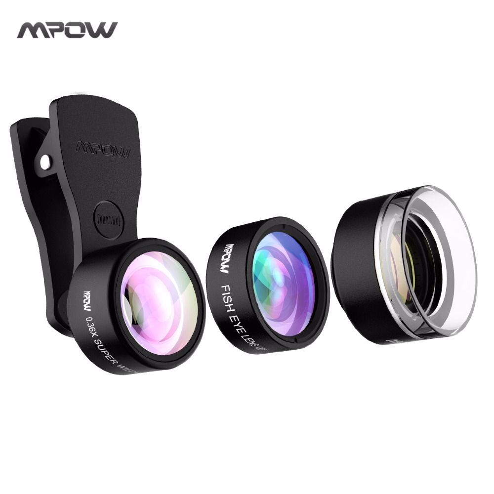 MPOW Universal Phone Camera Lens Kit 3-in-1 Clip-on 0.36X Super Wide Angle + 20X Macro Lens + Fisheye Lens for iPhone etc Phones