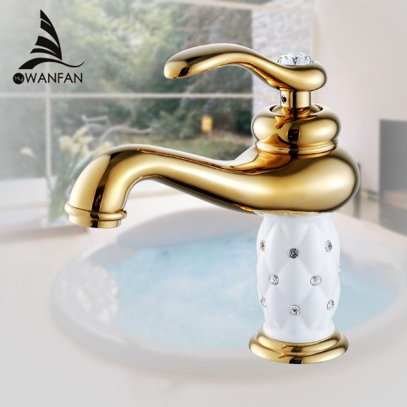Basin Faucets Brass with Diamond Bathroom Faucet Gold Mixer Tap Single Handle Hot & Cold Washbasin Tap torneiras banheiro 7301K
