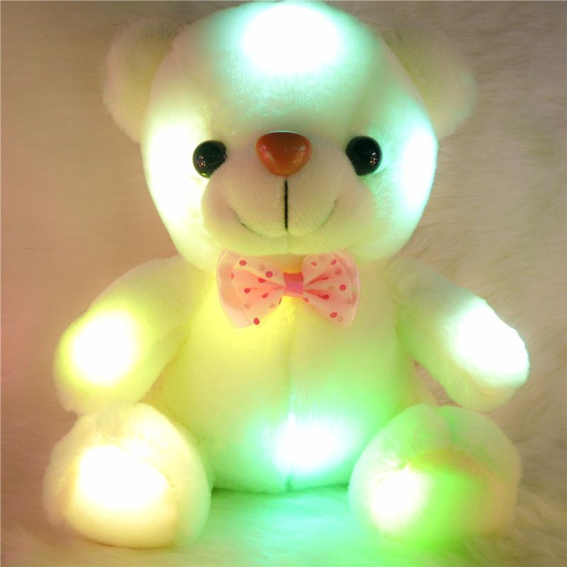 2015 New year kids toy new plush small colorful glowing bear light pillow teddy model birthday Christmas gifts,children gift