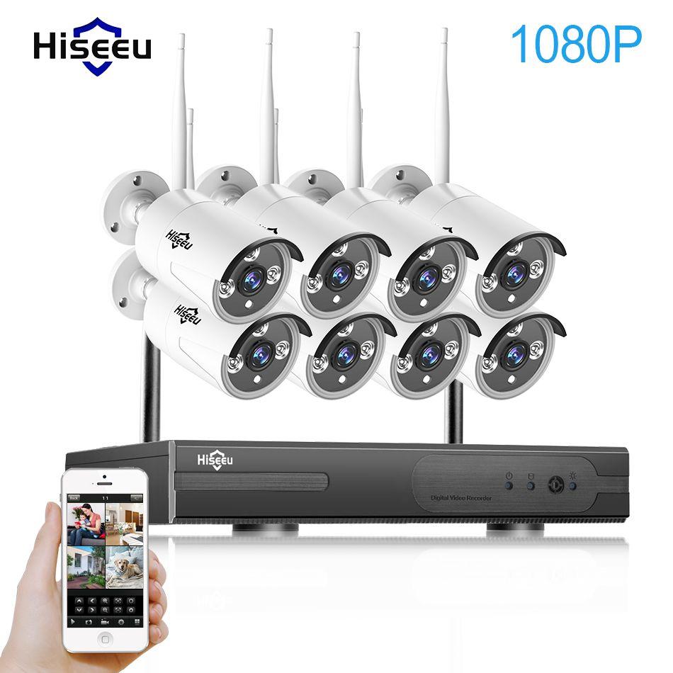 1080 P беспроводной системы видеонаблюдения 2 м 8ch hd Wi-Fi NVR комплект Открытый ИК ночного видения IP Wi-Fi камеры безопасности системы видеонаблюден...