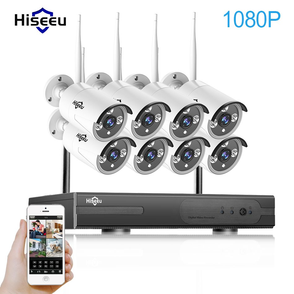 1080P Wireless CCTV System 2M 8ch HD wi-fi NVR kit Outdoor IR Night <font><b>Vision</b></font> IP Wifi Camera Security System Surveillance Hiseeu