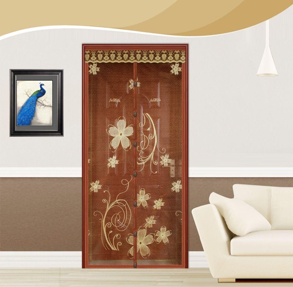 FUYA Neue Top Qualität Hände Frei Braune Magnetische Magische Tür Bildschirm Moskitonetz Magnetische Gardinen Mesh Sheer Tür Vorhang