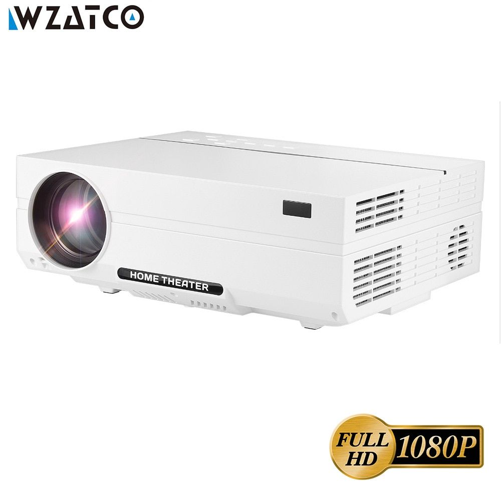 WZATCO CT61 Full HD 1080P Android 7.1 Projector 4200Lumens WIFI Bluetooth LED Projector 1920*1080 HDMI Home Theatre 3D Proyector