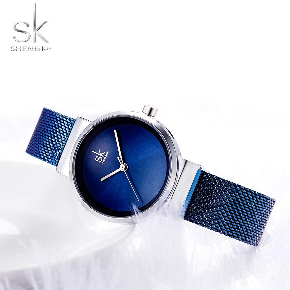 Shengke Blau Armbanduhr Frauen Uhren Luxus Marke Stahl Damen Quarz Frauen Uhren 2018 Relogio Feminino Montre Femme