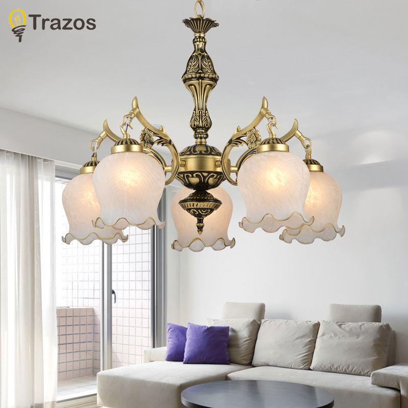 2017 New Hot genuine zinc vintage bedroom lamp LED Chandelier lights Top novelty Indoor Lights wedding decoration kitchen light
