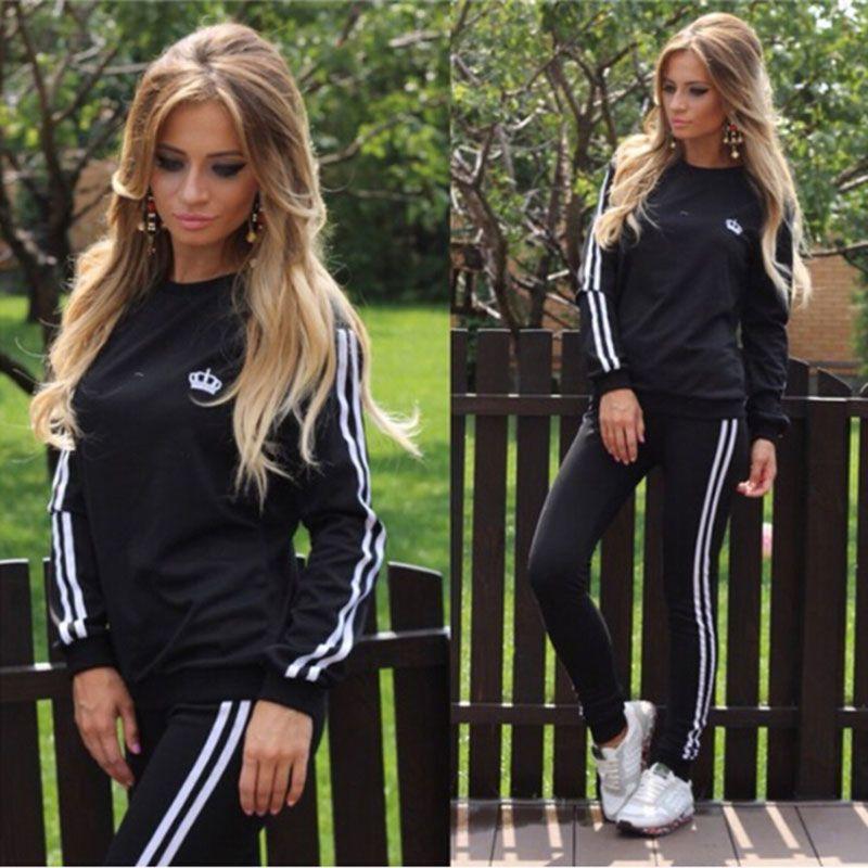 2 piece set spring fashion tracksuit Women Femme black Crown print Cotton Casual sportwear sporting <font><b>track</b></font> suit twinset 2017 new