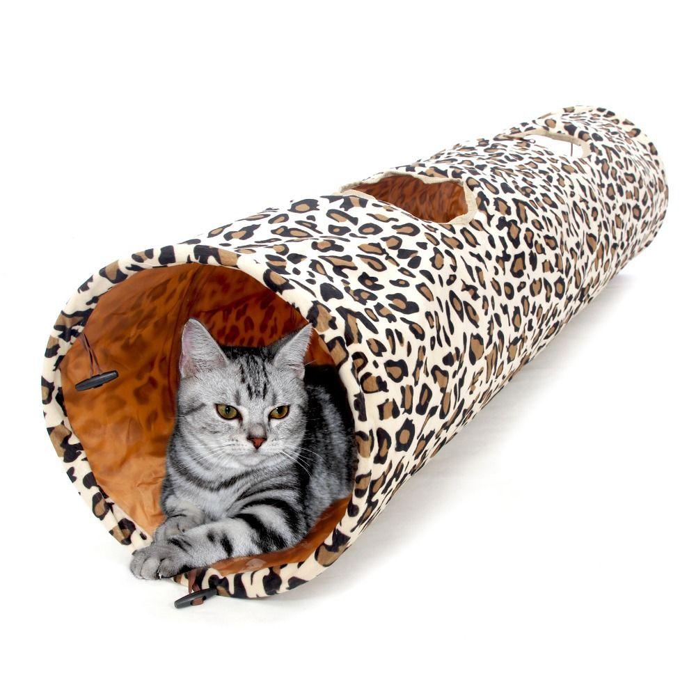 Offre spéciale 1.25 M produit pour animaux de compagnie chat Tunnel imprimé léopard Crinkly chat amusant 2 trous Long Tunnel chaton jouets pour animaux de compagnie jouant vivant nécessaire