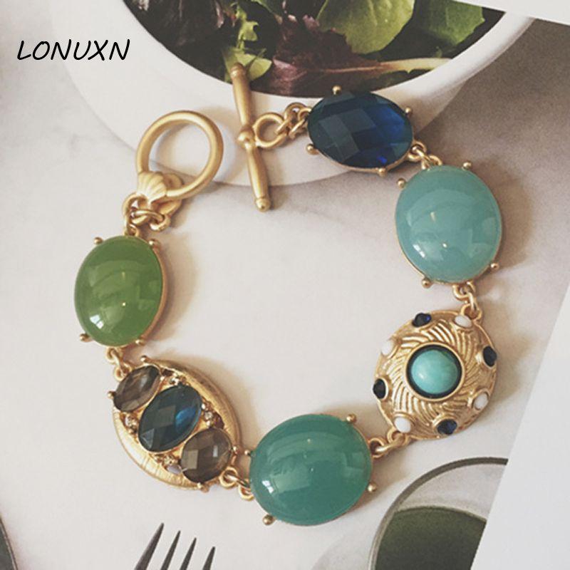 famous brand zinc alloy green female Korean gold Bracelet woman Jewelry Semi-precious stones Bohemian retro dinner party style