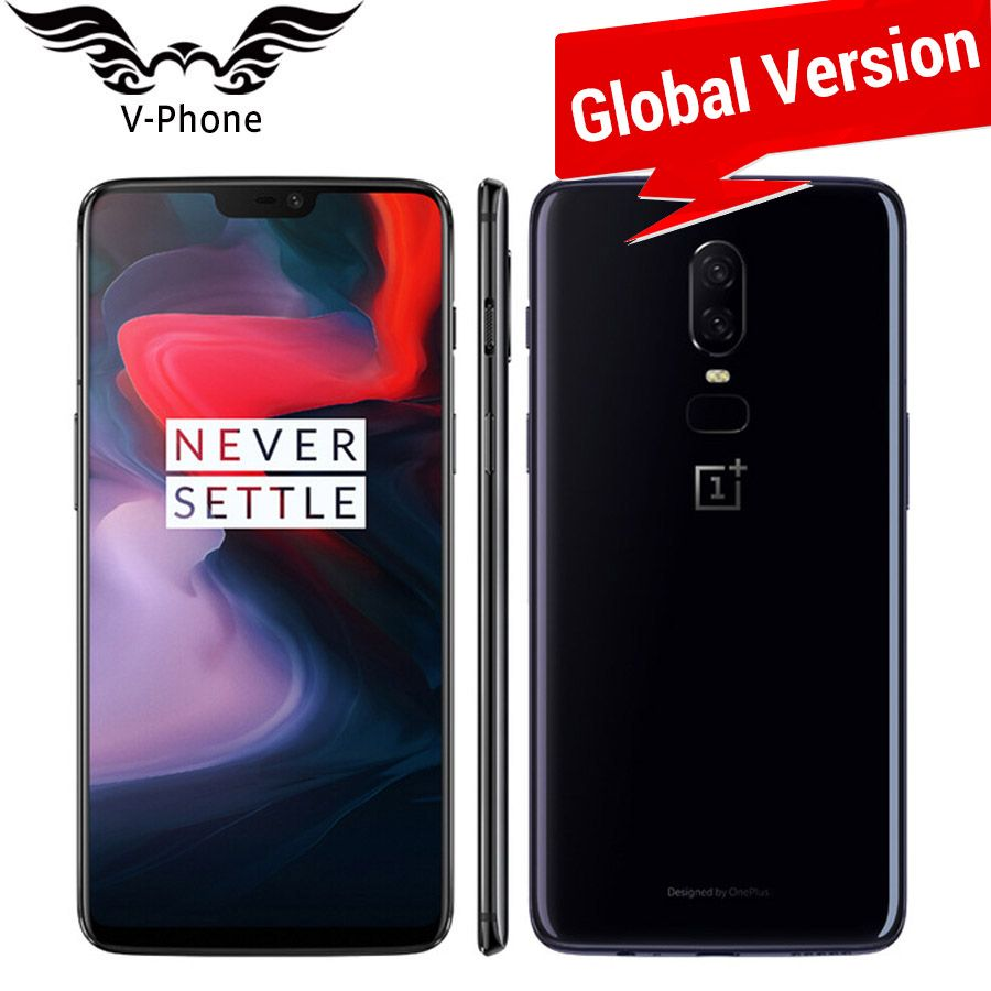 Global Version Oneplus 6 A6003 4G LTE Mobile Phone 6.28'' 8GB 128GB Snapdragon 845 Android 8.1 Dual Camera 20MP NFC Waterproof