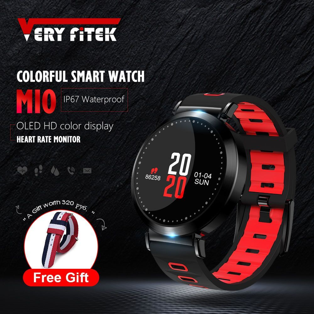 VERYFiTEK M10 Color Fitness Tracker Blood Pressure Watch Pedometer Bluetooth Smart Band Wristband Heart Rate Monitor Bracelet