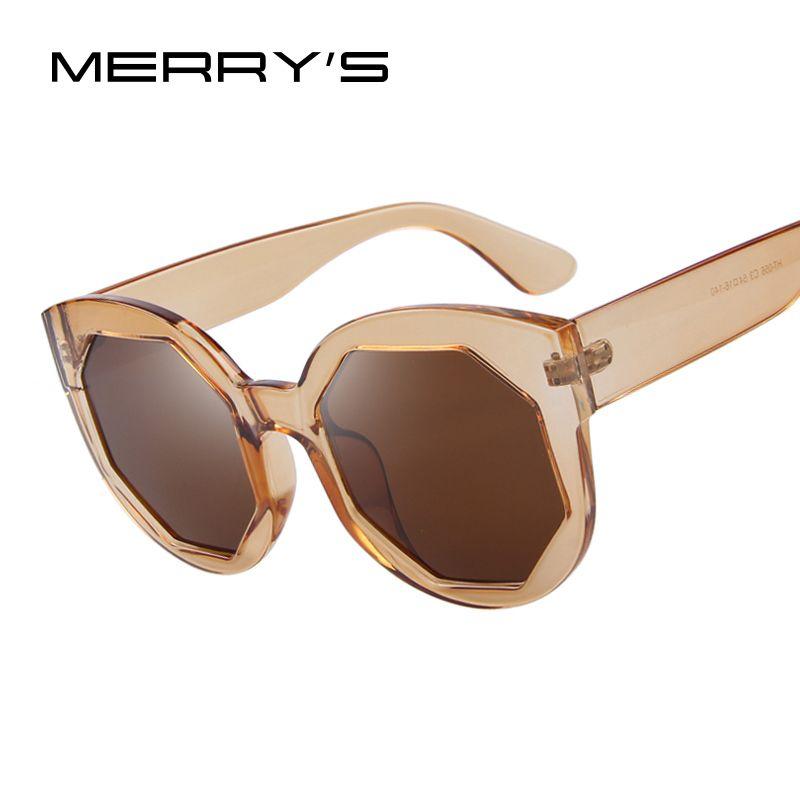 MERRY'S Fashion Women Sunglasses Polygon Lens Cat Eye Shades Candy Color Big Frame Glasses UV400