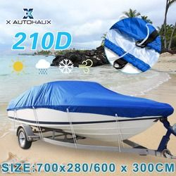 X AUTOHAUX 540/570/600/700 x 300cm  210D Trailerable Boat Cover Waterproof Fishing Ski Bass Speedboat V-shape Blue Boat Cover