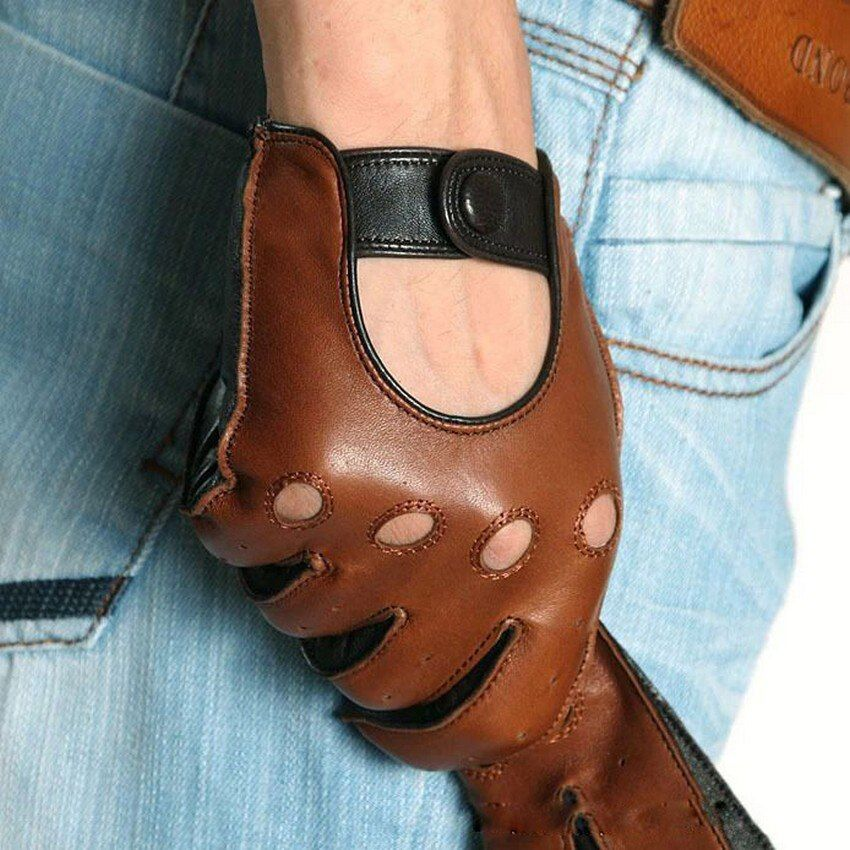 Fashion Winter Lambskin <font><b>Leisure</b></font> Men Genuine Leather Gloves Wrist Breathable Solid Sheepskin Driving Glove Free Shipping M023w