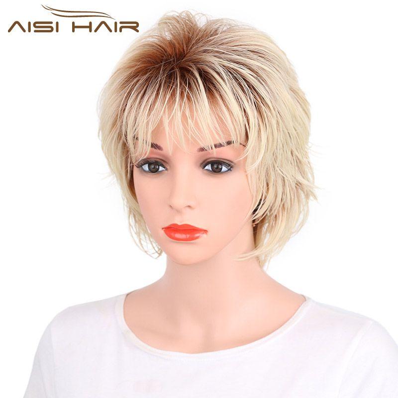 Я в парик Ombre Светло-русый серый синтетика короткие Искусственные парики для черный Для женщин жаропрочных прямых волос