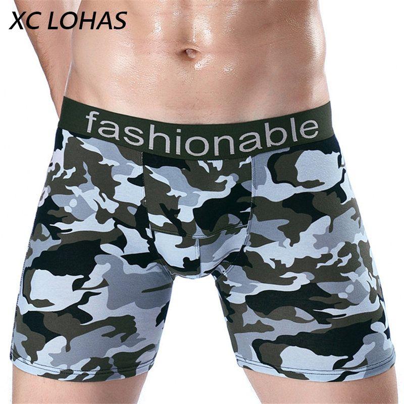 Качественные модные камуфляжные длинные ноги Для мужчин шорты-боксеры сексуальный мужчина нижнее белье домашняя одежда бренда боксеры ...