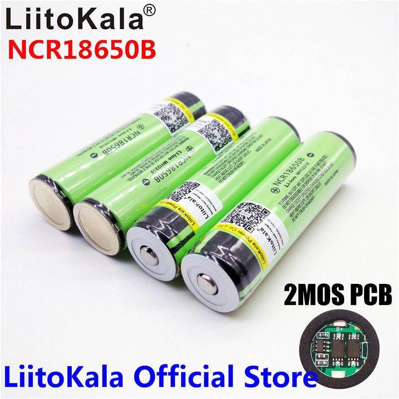 2018 Original LiitoKala 18650 3400 mah batterie 3,7 v Li-Ion Aufladbarer akku PCB Geschützt Für NCR18650B 18650 3400