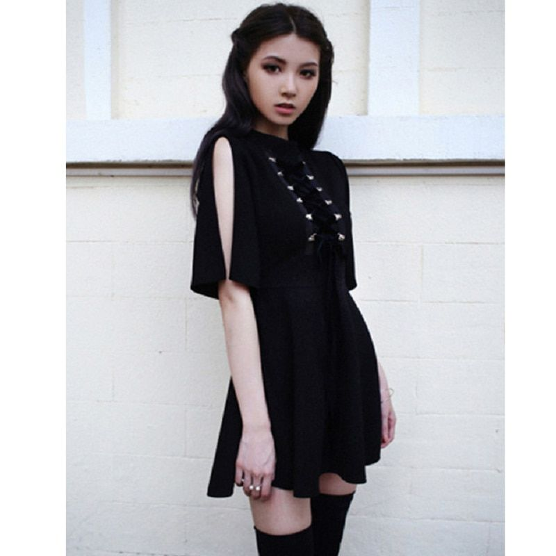 <font><b>Ribbon</b></font> Decorated Gothic Women Black Dress Japanese Harajuku Punk Cross Straps Tie Slim A Line Dress