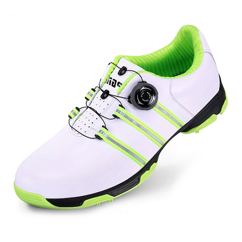 Golf Shoes Top-Grain Leather Sports Shoes Resilient Shockproof Anti-slip Shoes Sneakers Knobs Buckle Footwear for Men
