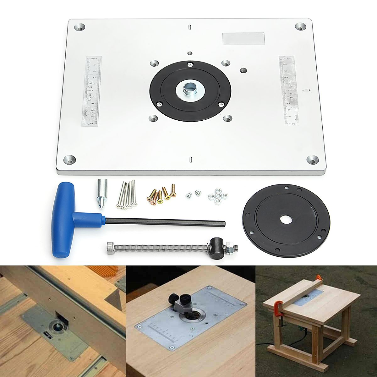Aluminum Router Table Insert Plate For Popular Router Trimmers Models Engrving Machine DIY Woodworking Benches