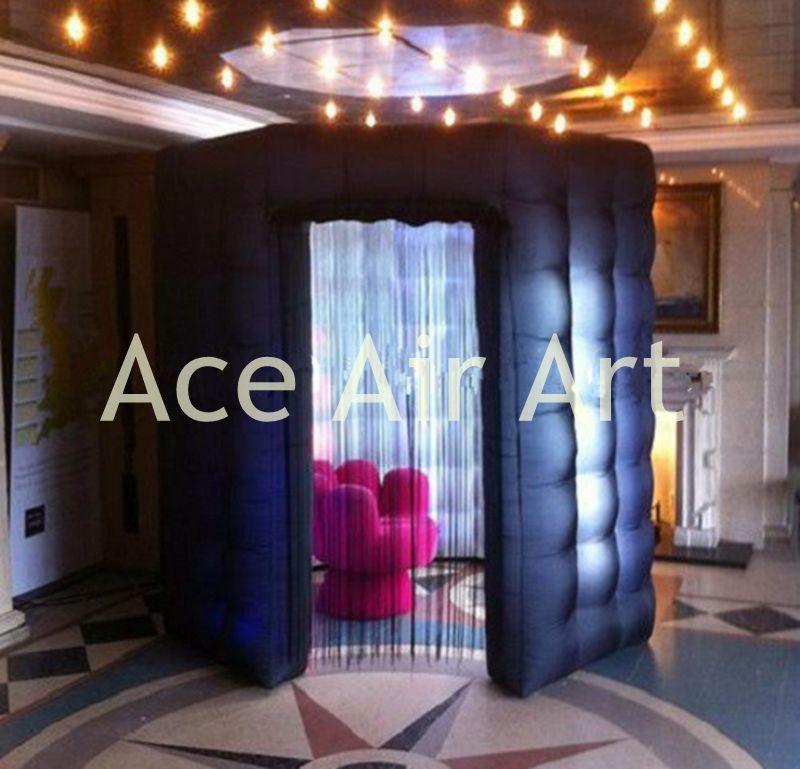 Belle durable noir octagon gonflable photo booth boîtier