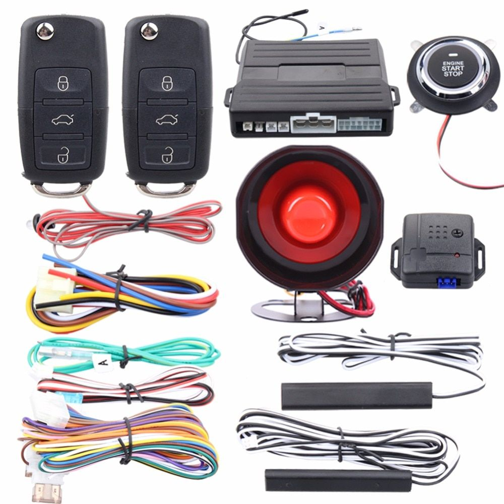 Good quality Easyguard PKE car alarm system remote lock unlock shock alarm remote engine start stop push button start stop