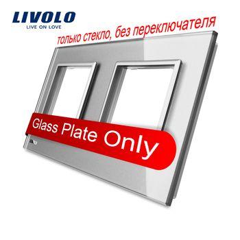 Livolo Luxe Gris Perle Cristal En Verre, 151mm * 80mm, standard de L'UE, Double Panneau de Verre Pour Interrupteur Mural et Prise, VL-C7-SR/SR-15