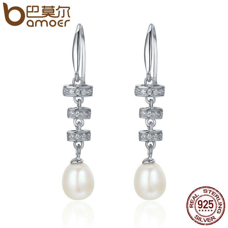 BAMOER 925 Sterling Silver Vintage Geometric Fresh Water Pearl Dangle Drop Earrings for Women Sterling Silver Jewelry SCE123