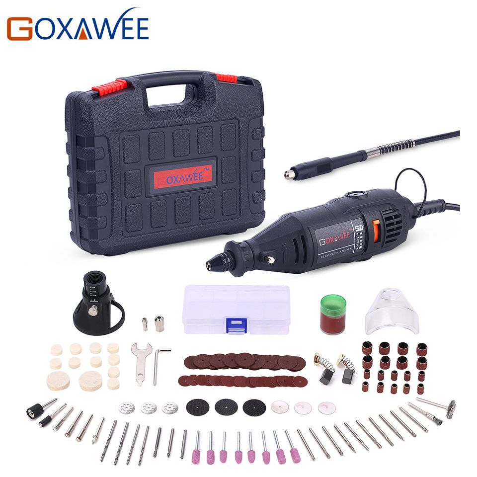 GOXAWEE 220V <font><b>Power</b></font> Tools Electric Mini Drill with 0.3-3.2mm Univrersal Chuck & Shiled Rotary Tools For Dremel Drill 3000 4000