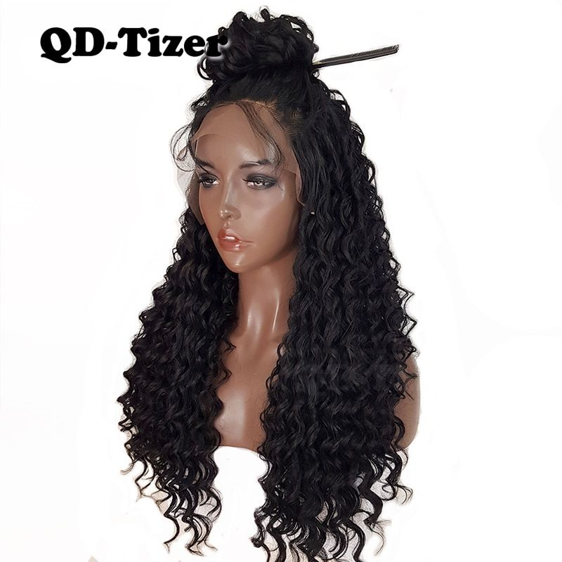 QD-Tizer 180% Curly Wig Glueless Long Wig Synthetic Lace Front Wigs Curl Black Baby Hair Heat Resistant Fiber Hair Wig