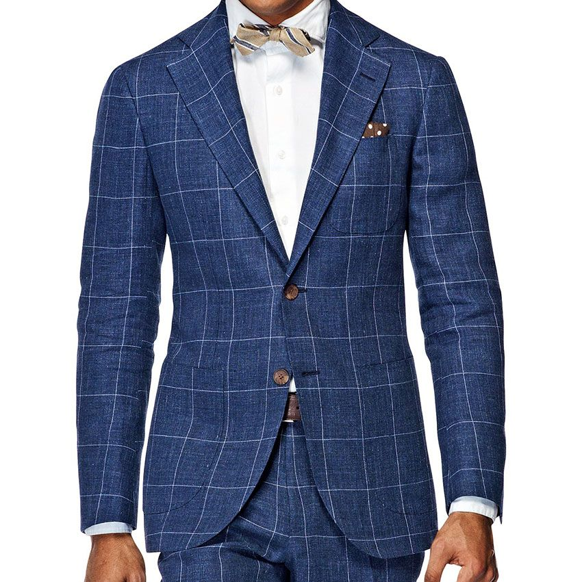 Men'S Wardrobe Essentials Slim Fit Windowpane Suit Tailor Made Navy Blue Windowpane Check Suits For Men,Elegant Business Suit