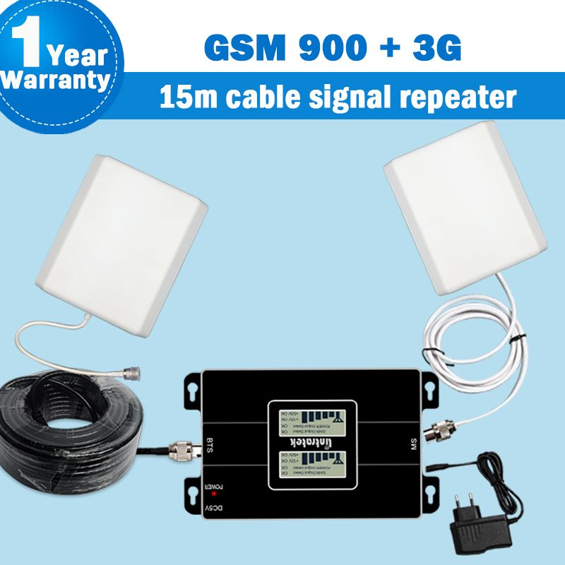 Lintratek 2G 900MHz 2100MHz(Band 1) 3G Dual Band Signal Booster Amplifier 3G Repeater WCDMA 65dB Mobile Cellular Repetidor S32
