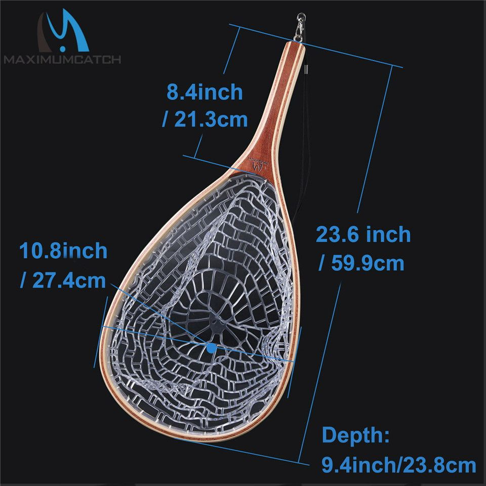 Maximumcatch Fly Fishing Landing Net  with Wooden Frame and Rubber Netting Curve Wood Handle Tenkara Fishing Net