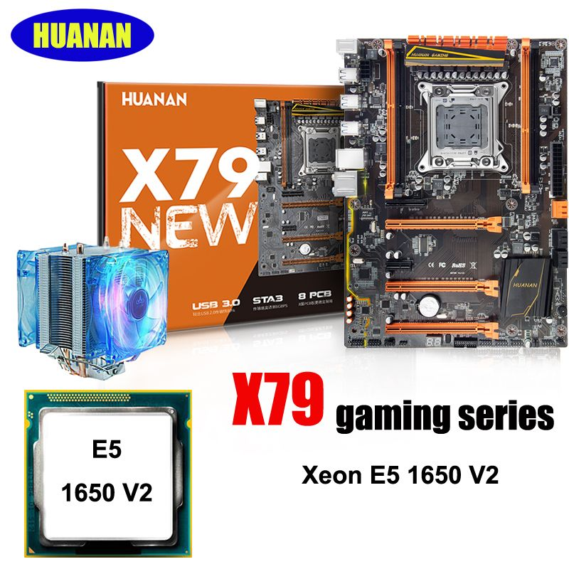 Building computer HUANAN deluxe X79 LGA2011 gaming motherboard CPU combos processor Intel Xeon E5 1650 V2 support 64G memory