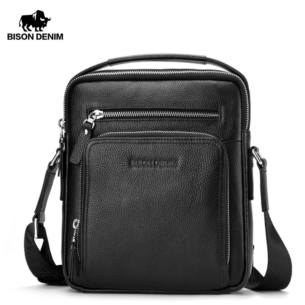 BISON DENIM Genuine Leather Men's Bag Business Shoulder Crossbody Bag Christmas Gift designer <font><b>handbags</b></font> high quality N2333-1&2