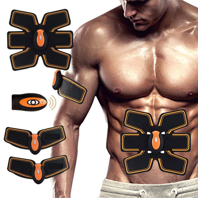Rechargable Abdominal Muscle Toner Wireless Electric Stimulator Massager Back Pain Relief ABS Fit Smart EMS Muscle Fitness