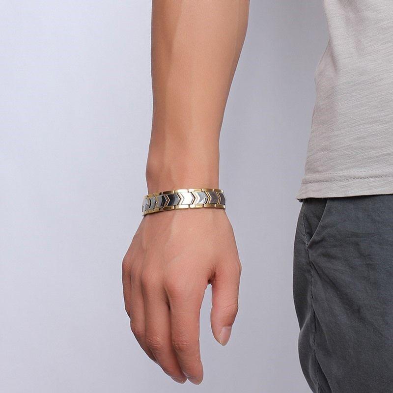 Vinterly Bracelet énergie hommes couleur or chaîne acier inoxydable Bracelet mâle Germanium magnétique Bracelets Bracelets pour hommes bijoux