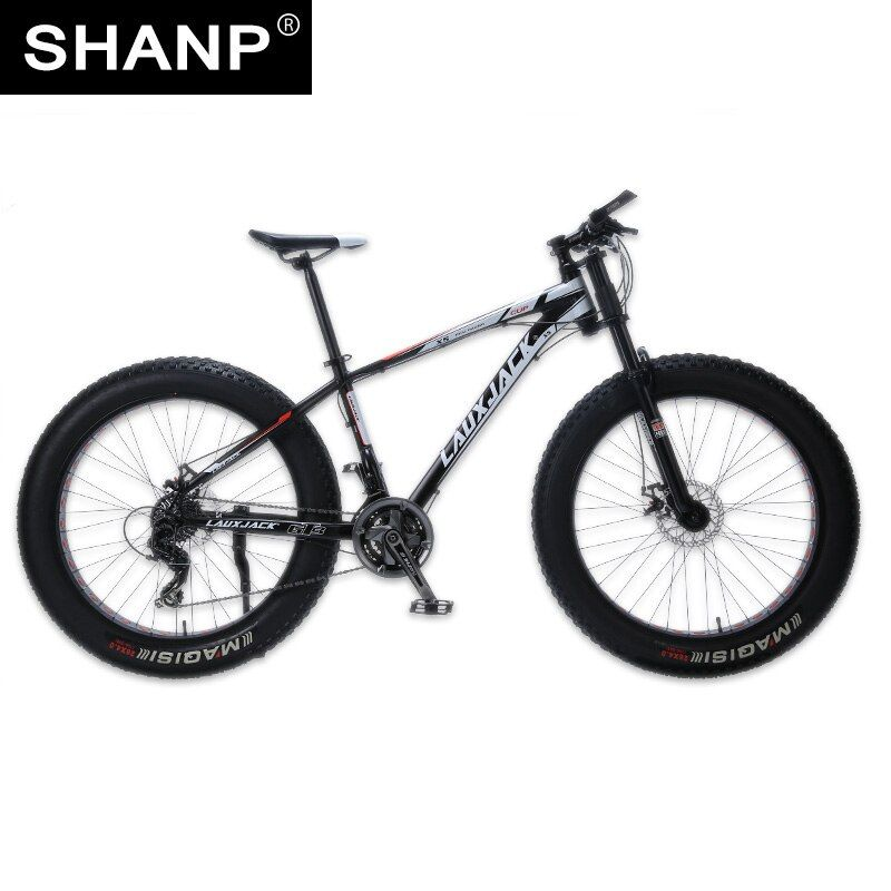 LAUXJACK Mountain Bike Aluminum Frame 24 Speed Shimano Mechanical Brake Fat Bike 26