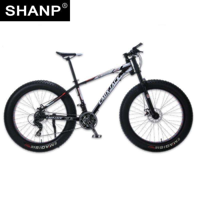 LAUXJACK Mountain Bike Aluminum Frame 24 Speed Shimano Mechanical Brake Fat Bike 26x4.0 <font><b>Wheel</b></font> Long Bicycle Fork