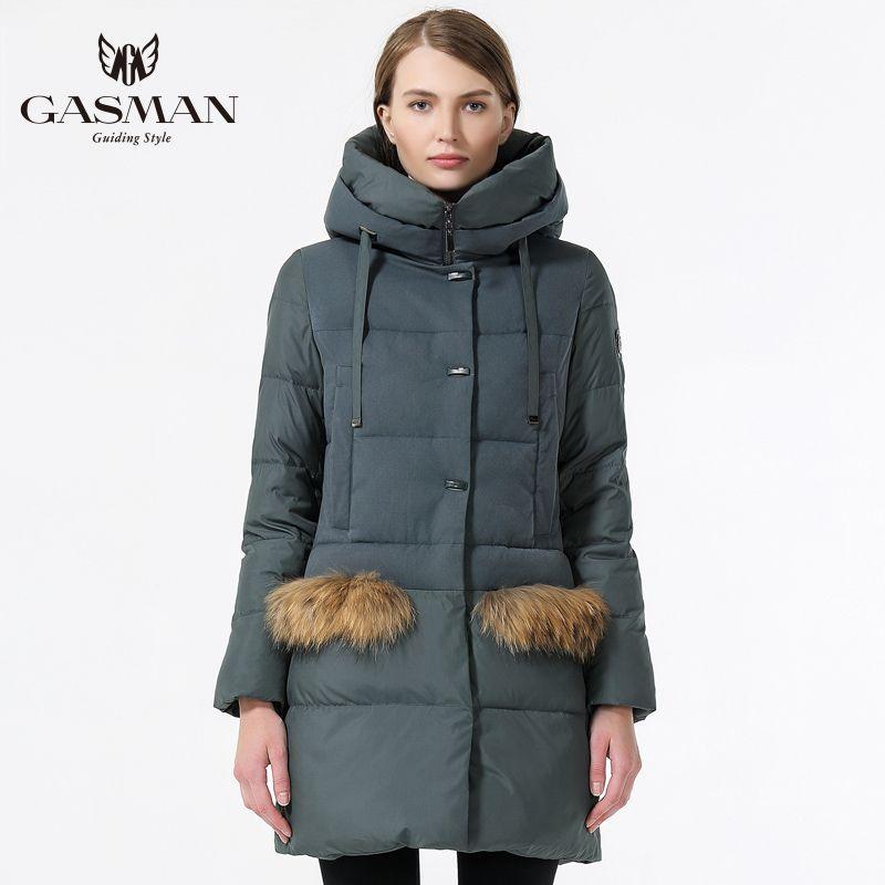 GASMAN 2018 New Womens Winter Bio Down Jacket Fashion Hooded Warm Women Casual Parka Thickening Winter Women Coat Medium Length