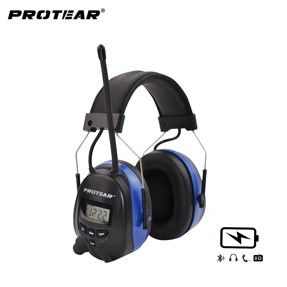 Protear Lithium-Batterie Bluetooth & Radio AM/FM Sicherheit Gehörschutz NRR 25dB Gehörschutz Tactical Protector Für Mähen
