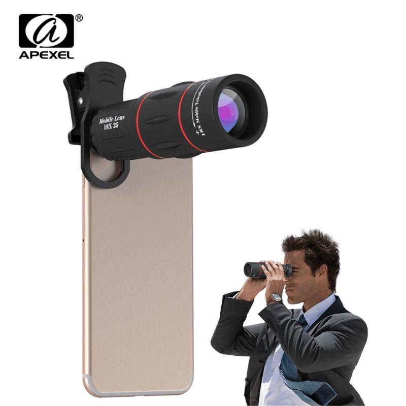 APEXEL téléphone portable caméra 18X Télescope téléobjectif 18x25 Monoculaire pour iPhone Samsung android ios smartphones